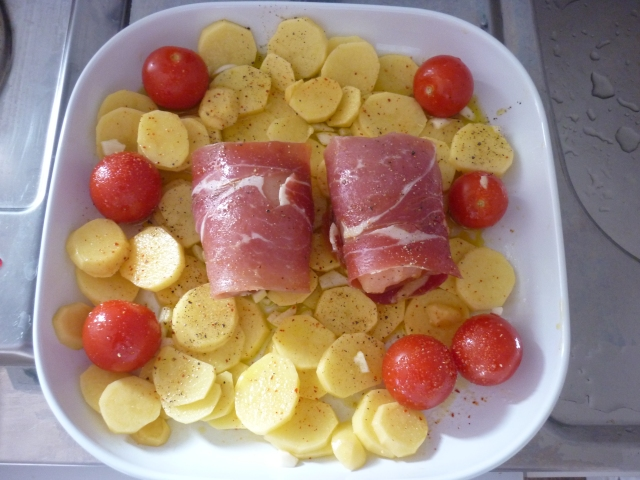 Poulet-Serrano-PDT-Tomates au four 1