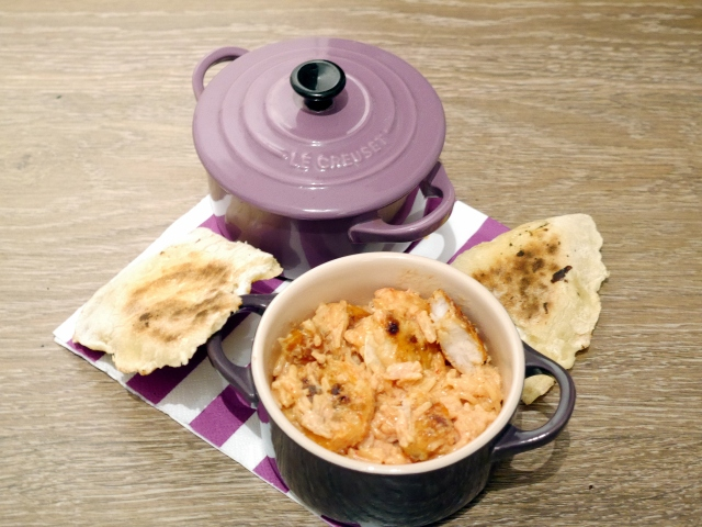 Crevettes au safran et cheese naans