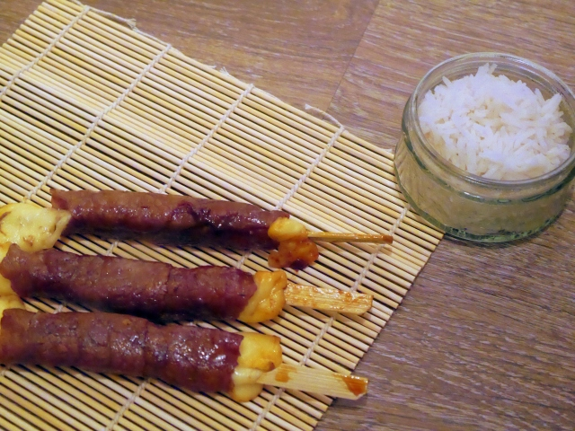 Yakitori bœuf fromage - Espelette et Chocolat - https://espeletteetchocolat.wordpress.com